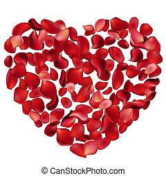 grande, corazón, hecho, de, rosa roja, pétalos