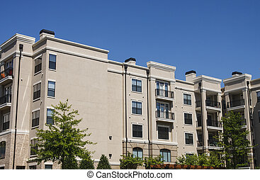 grande costruzione, condominio, beige, stucco