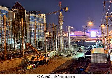 grande, costruzione, progetti, visione, notte