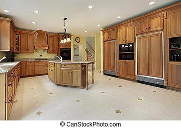 grande, cozinha, em, repouso luxuoso