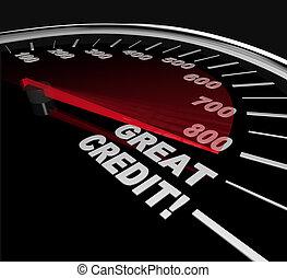 grande, -, credito, números, cuentas, velocímetro