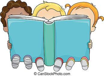 grande, crianças, livro, ilustração, toddlers