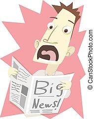 grande, cuándo, sorprendido, periódico., noticias, lectura, hombre
