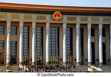 grande, cuadrado, gente, Tiananmen, China, Beijing,...