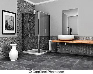 grande, cuarto de baño