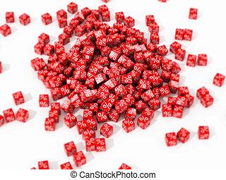 grande, cubi, mucchio, rosso