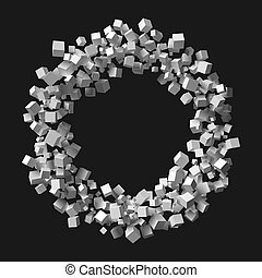 grande, cubos, aleatorio, marco, formado, circular, ...