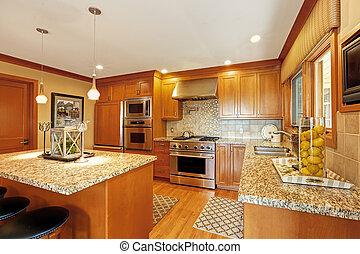 grande, cucina, stanza, con, isola