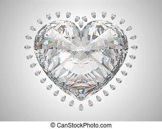grande, cuore, taglio, diamante