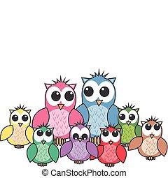 grande, cute, família, coruja