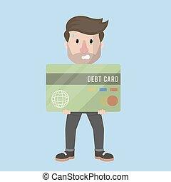 grande, dívida, cartão, segurando, homem negócios