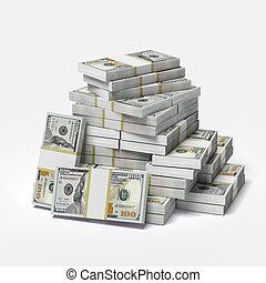 grande, dólares, pila