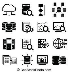 grande, dados, e, ícones tecnologia