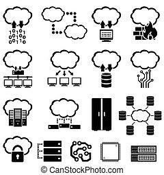 grande, dados, nuvem, computando