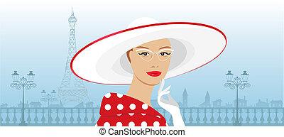 grande, dama, retro, sombrero