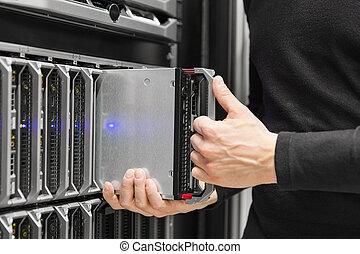 grande,  datacenter, LAMA, installazione,  server