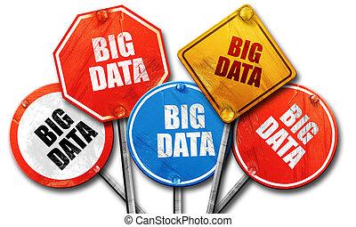 grande, dati, 3d, interpretazione, ruvido, segnale stradale, collezione