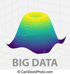 grande, datos, 3d, gráfico