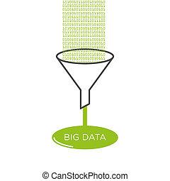 grande, datos, análisis, embudo filtro, ilustración, plano