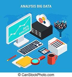 grande, datos, análisis, isométrico, diseño, concepto