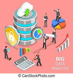 grande, datos, análisis, plano, isométrico, vector, concept.