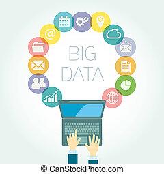 grande, datos, analista, ilustración, iconos