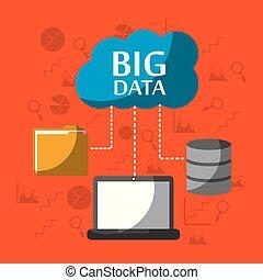 grande, datos, computadora, computador portatil, almacenamiento, archive carpeta, nube