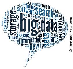 grande, datos, concepto, en, palabra, nube