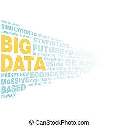 grande, datos, concepto, palabra, etiqueta