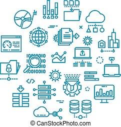 grande, datos de la computadora, contorno, vector, iconos, en, círculo, diseño