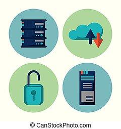 grande, datos, iconos de tecnología