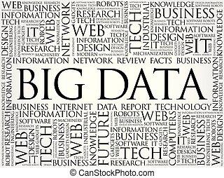 grande, datos, palabra, nube, collage