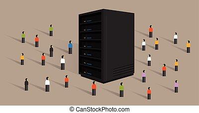 grande, datos, servidor, web ofrecer, gente, multitud, compartido, juntos