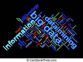 grande, datos, themed, palabra, nube, con, información, y, datos, minería, texto, arreglo