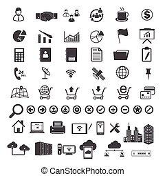 grande, datos, y, iconos del negocio, conjunto