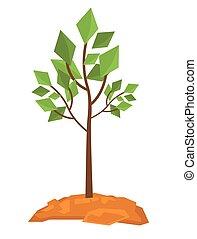 grande, decíduo, vetorial, árvore, illustration.