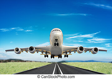 grande, decollare, pista, jet