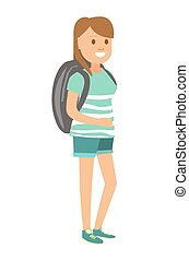 grande, denim, mulher, mochila, shorts