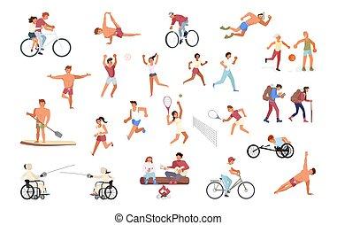 grande, deporte, conjunto, gente