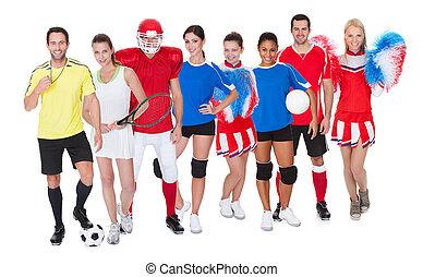grande, deportes, grupo, gente