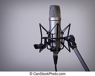 grande, diaframma, microfono