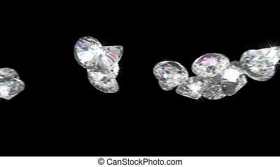 grande, diamantes, ou, jóias, rolar