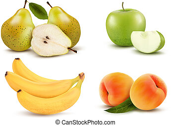 grande, differente, gruppo, fruit., vector.