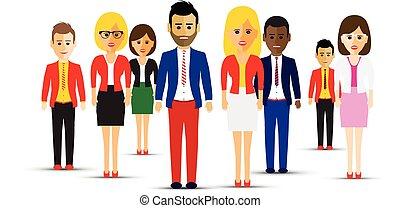 grande, differente, squadra, gruppo, persone