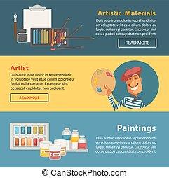grande, dipinti, materiali artista, artistico, internet, pagina
