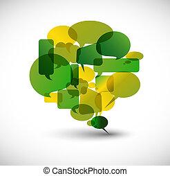 grande, discurso, verde, burbuja