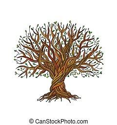 grande, diseño, árbol, su, raíces