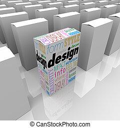 grande, diseño gráfico, uno, único, producto, caja, estantes, afuera