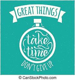 grande, disegno, cose, moderno, illustrazione, vettore, hipster, prendere, tempo, frase
