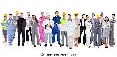 grande, diverso, grupo, de, trabalhadores